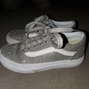Girl's Silver Sparkle Vans size 13